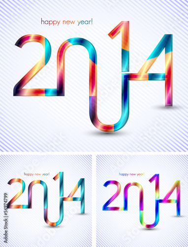 set of 3d typographic illustration of new year 2014