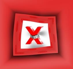 X su sfondo rosso