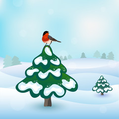 Wintar card, bird and fir tree, vector