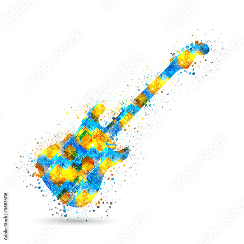 Music guitar background, easy all editable