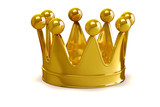 3d golden crown on white background