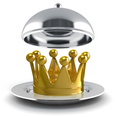 3d golden crown on silver plate