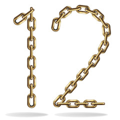 Golden one and two numbers, made with chains
