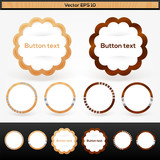 Vector set of wooden buttons