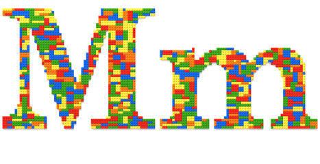 Letter M built from toy bricks in random colors