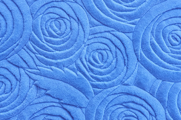 Blue Towel with floral pattern and texture