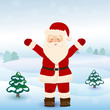 Santa Claus in winter forest, vector