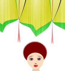 donna davanti ale tende