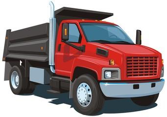 Vector red dump truck