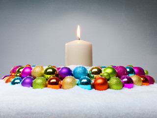 Colourfull Advent wreath with candle