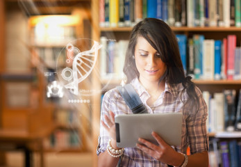 Pretty student using futuristic interface to learn about science