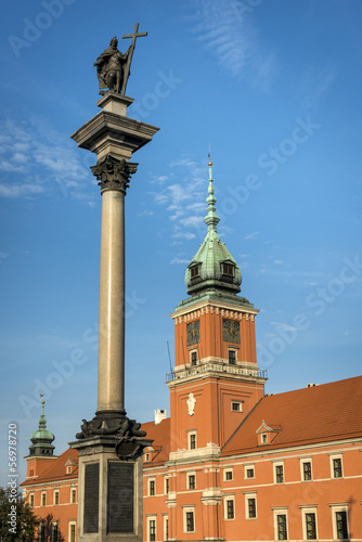 Royal Castle on Castle Square with king III Vaza in Warsaw