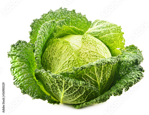Fresh raw cabbage isolated on white background