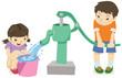 手押しポンプで井戸水を使う男の子と女の子 - 56980792