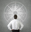 Confused, businessman looking at wind rose on the wall