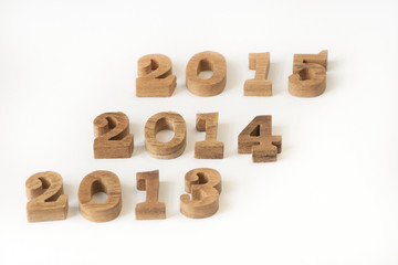 Wooden years numbers style on white background