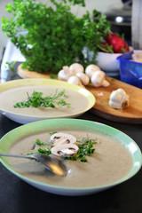Fresh mushroom champignon soup prepared in blender