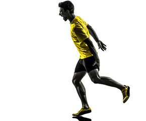 young man sprinter runner running muscle strain cramp silhouette