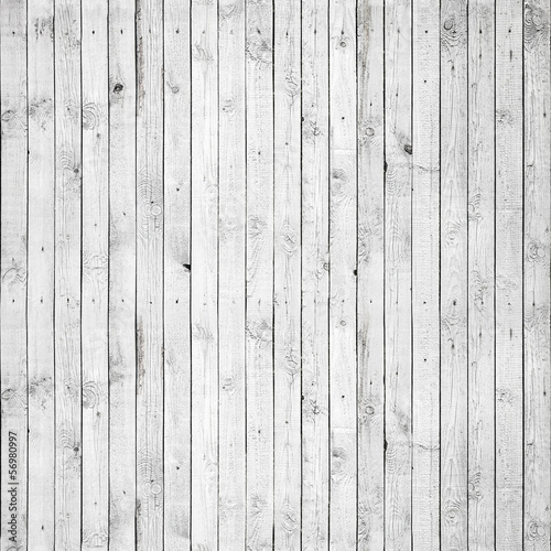 canvas print picture Seamless background texture of white wooden wall
