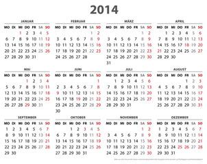 Kalender 2014, 16 Bundesländer in AI-Format
