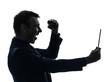 business man  digital tablet  happy joy silhouette