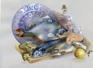 Still-life with fishes. Hand drawn painting