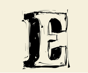 Eroded calligraphic vintage styled ABC. Vector. letter E