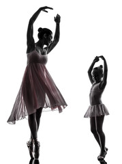 woman and little girl  ballerina ballet dancer dancing silhouett