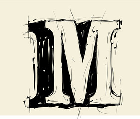 Eroded calligraphic vintage styled ABC. Vector. letter M