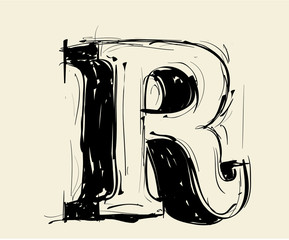 Eroded calligraphic vintage styled ABC. Vector. letter R
