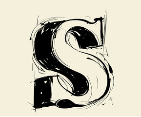 Eroded calligraphic vintage styled ABC. Vector. letter S