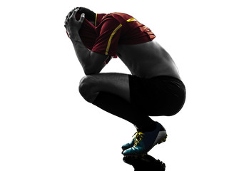 one man soccer player  loosing despair silhouette
