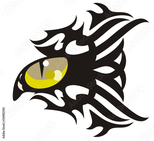 Tribal cat eye tattoo in the form of fish