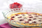 Flaugnarde with raspberries