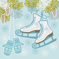 Retro ice figure skates and mittens