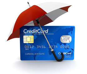 Credit Card under Umbrella (clipping path included)