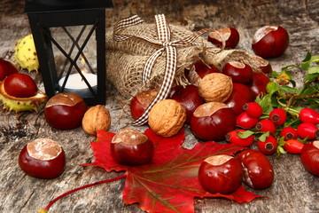 Herbstdekoration mit Windlich, Kastanien, Herbstlaub, Hagebutten