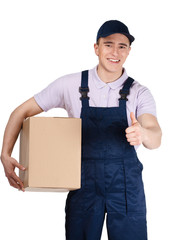 Workman in overalls and blue peaked cap hands a box