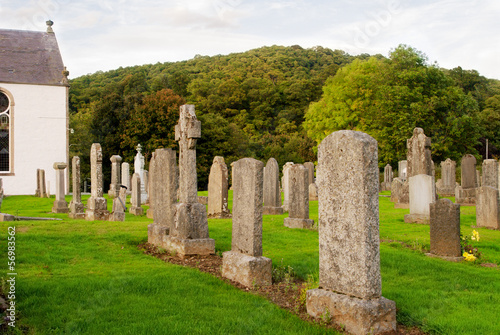 Old cemetery in Scottish country churchyard