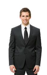 Half-length portrait of business man, isolated