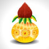 Vector Kalash With Mango Leaf