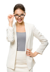 Half-length portrait of businesswoman wearing glasses