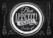 Bon appetit! enjoy! Best for you lettering on a plate with a for - 56984741