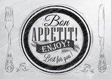 Fototapety Bon appetit! enjoy! Best for you lettering on a plate with a for