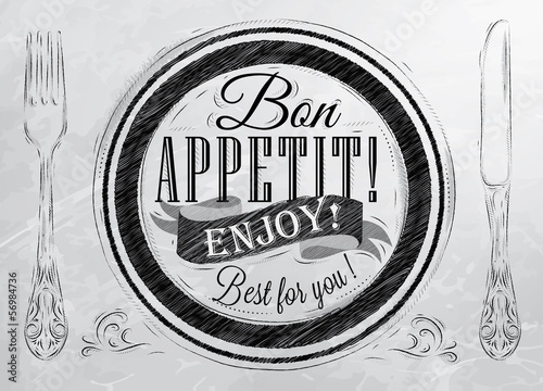 Bon appetit! enjoy! Best for you lettering on a plate with a for