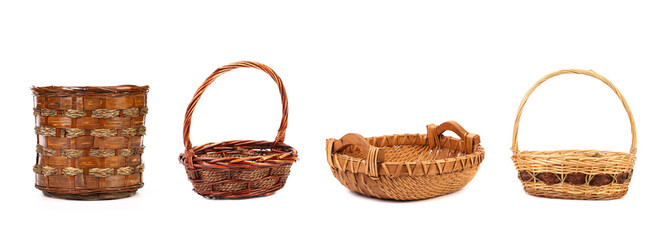 Four different wicker vases and baskets.