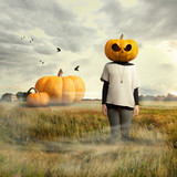 Young girl with pumpkin head, halloween
