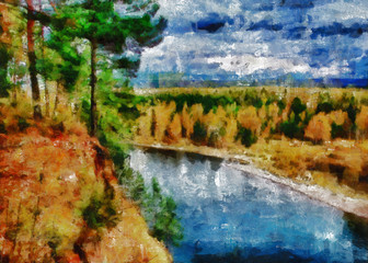 Digital structure of painting. Autumn river