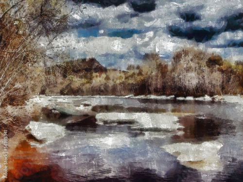 Digital structure of painting. Autumn lake