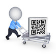Symbol of QR code on pushcart.